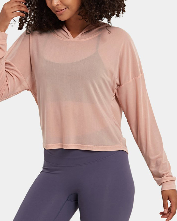Mesh Sheer Hollow Out Sports Hoodie gallery 4