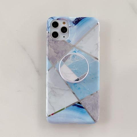 Stitching Plaid Marble Phone Case for Samsung with Phone Holder gallery 11