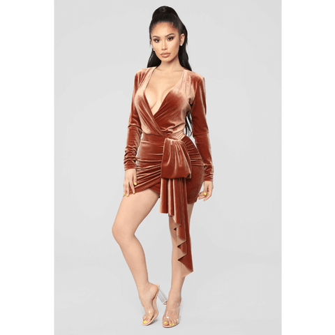 Chic Deep V-Neck Ruched Wrap Detail Velvet Bodycon Dress