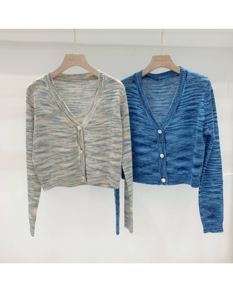 Button Front V-Neck Space Dye Cardigan