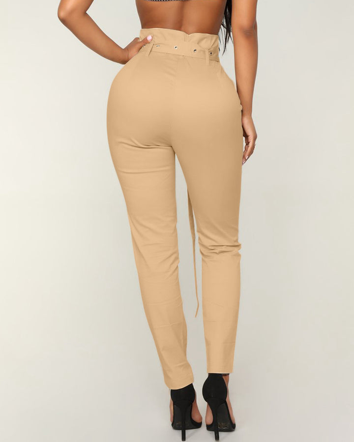 Solid Studded Button Front Pants With Belt gallery 3