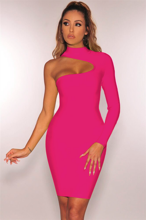 Bandage One Shoulder Cut Out Midi Dress gallery 2