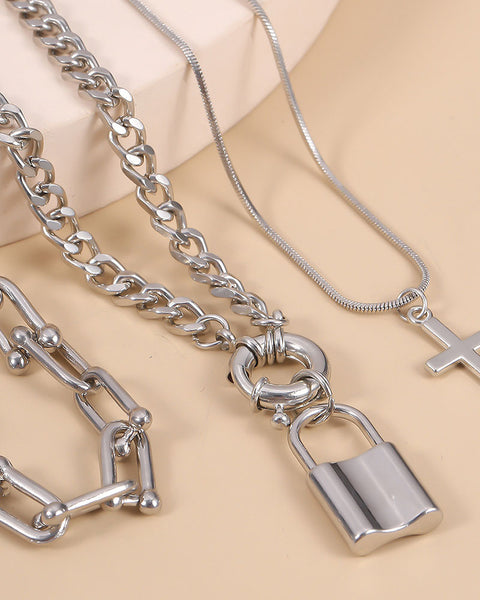 Lock & Letter Layered Chain Necklace gallery 5