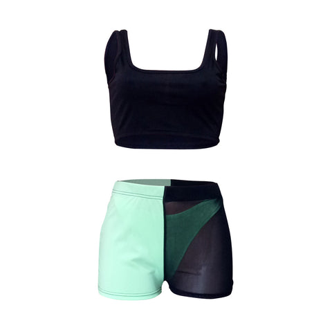 Square Neck Sleeveless Mesh Detail Cropped Top & Short Set gallery 14