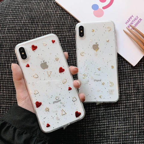 Glitter Moon Heart Pattern Crystal Detail Phone Case for Samsung gallery 2