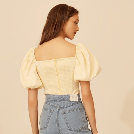 Chic Puff Sleeve Knot Front Zip Back Cropped Blouse gallery 4