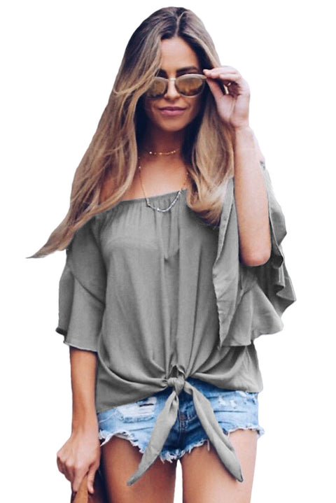 Gray Off The Shoulder Knot Front Top gallery 1