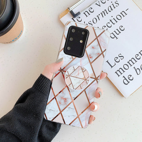Marble Electroplated Detail Phone Case for Samsung with Phone Holder gallery 10