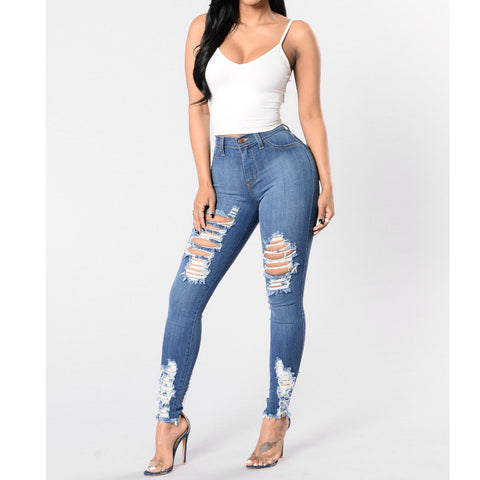 Plus Size Elastic Skinny Ripped Jeans