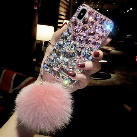 Stitching Rhinestone Deco Phone Case for Samsung with Pom-pom gallery 3