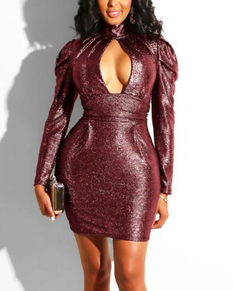 Solid Cut Out Bust High Neck Long Puff Sleeve Mini Dress