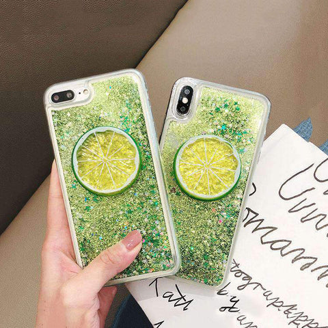 Glitter Liquid with Lemon Decorated Phone Case For All iPhone