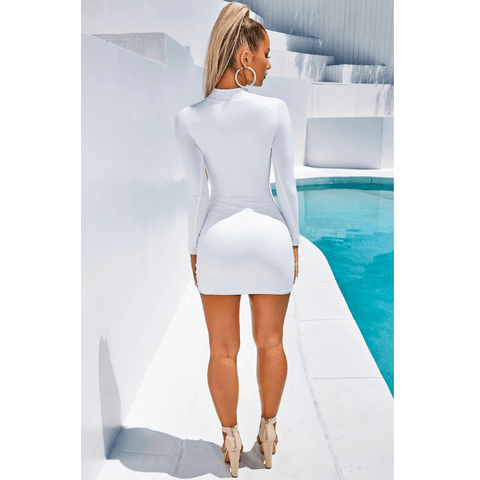 High Neck Ruched Drawstring Front Mini Dress gallery 6
