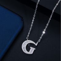 Silver Initial Diamante Stud Pendant Necklace