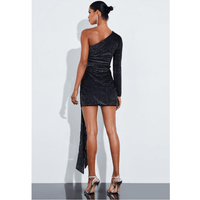 Black One Shoulder Sequin Tied Waist Slinky Mini Dress