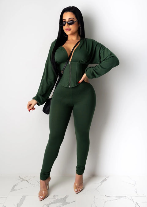 Corset Plunge Zippered Front Hooded Top & Pants Set gallery 4