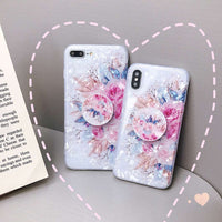 Shell Glittering With Flowers Pattern iPhone Case With Phone Holder