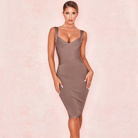 Brown Deep V Neck Bandage Dress