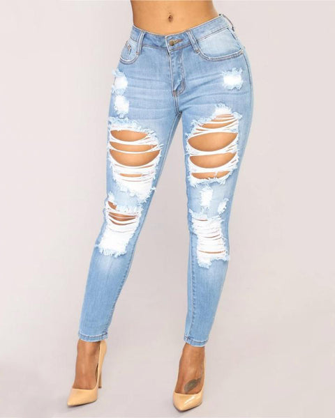 Mid Waist Elastic Extreme Ripped Jeans