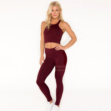 Concise Pure Color Cami Top & Pants Yoga Set