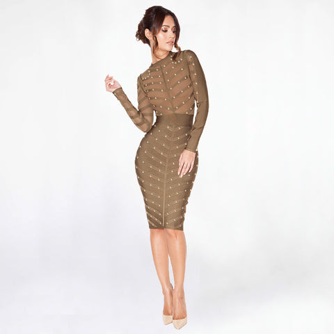 2 Colors Beading Detail Sheer Striped Bandage Dress