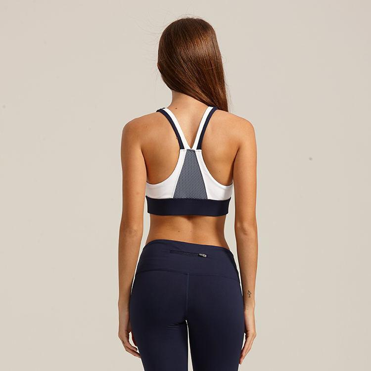 Color Block Medium Impact Breathable Stretch Sports Bra