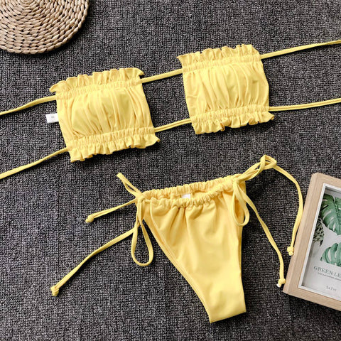 Ruched Bandeau With Tie Side Bikini Set gallery 20