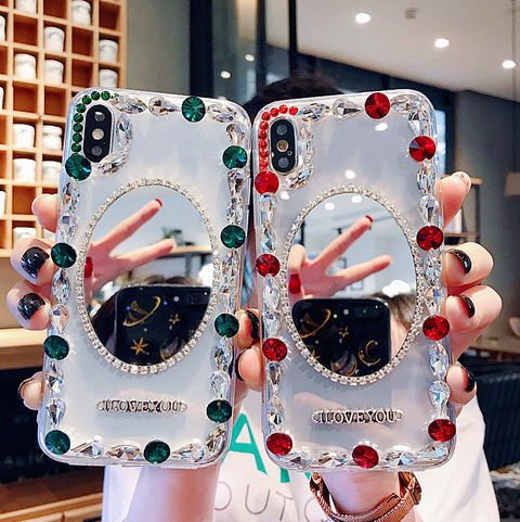Oval Mirror Rhinestone Side Deco Phone Case for Samsung gallery 8