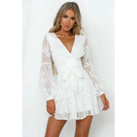 Plunge Floral Embroidered Mesh Wrap Tied Waist Dress