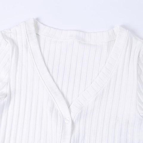 Casual V-Neck Ribbed Bust Button Crop Top gallery 6