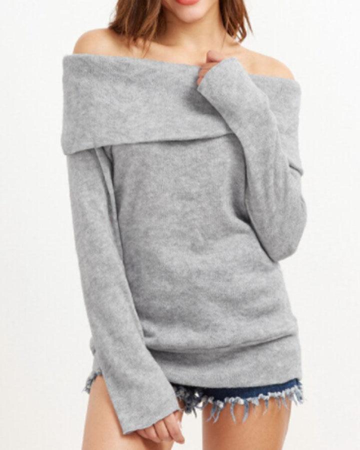 Off Shoulder Form Fitted Sweater gallery 1