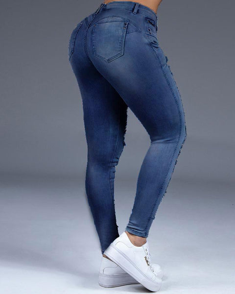 Extreme Distressed Stretch Butt Lifting Skinny Jeans gallery 11