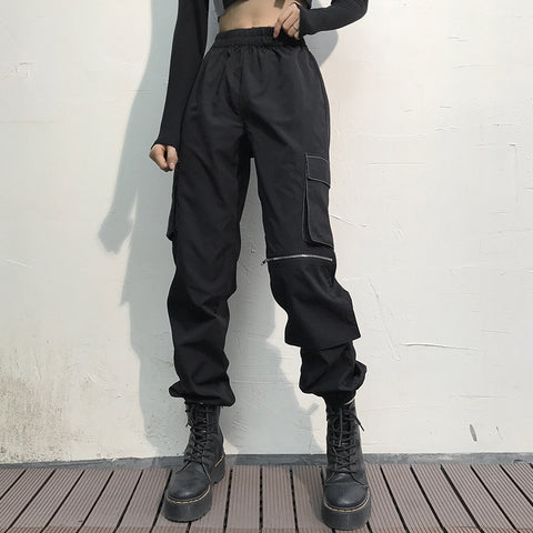 Zipper Detail Flap Pocket High Waist Cargo Pants