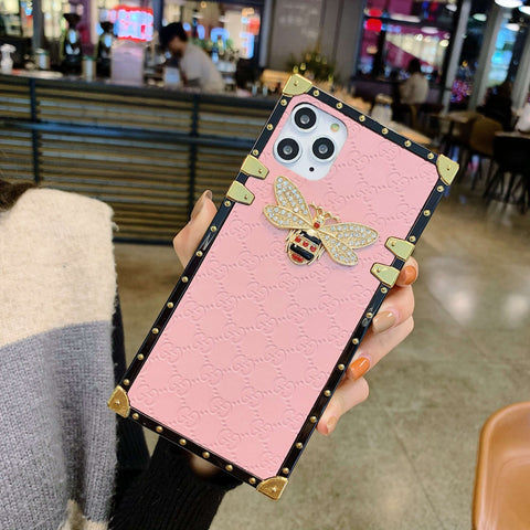 Rivet Trim Metal Bee Deco Square Phone Case for Samsung gallery 9