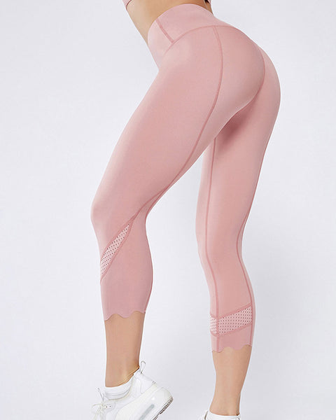 Hollow Out Scallop Detail Capris Sports Leggings gallery 6