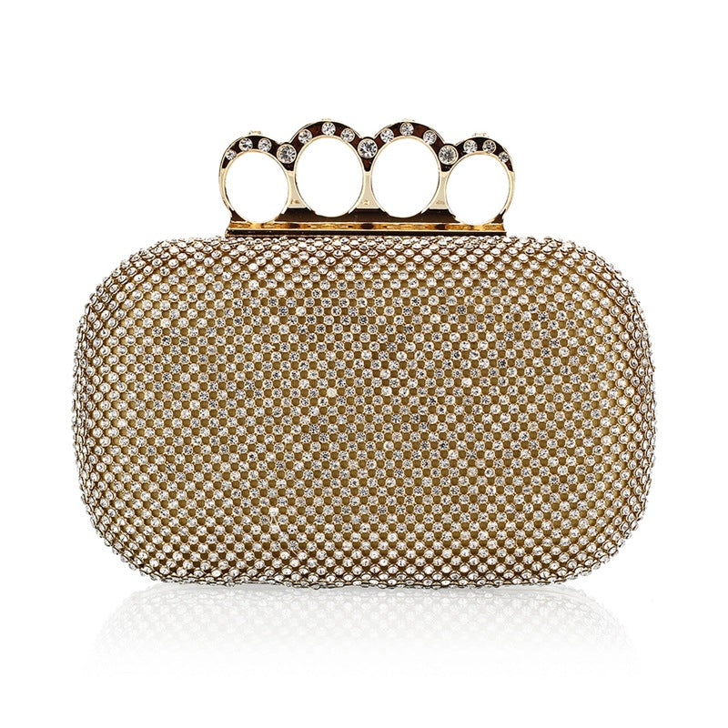 Knuckle Duster Handle Glitter Evening Bag Clutch Purses