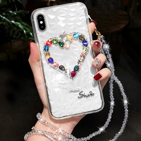 Heart Rhinestone Clear Transparent Phone Case for Samsung with Hand Strap gallery 8