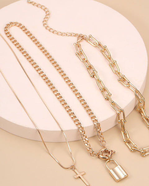 Lock & Letter Layered Chain Necklace gallery 3