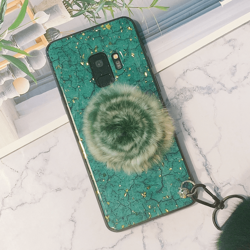 Glittering Sequin Decorate Phone Case for Samsung with Phone Holder and Double Pom-pom