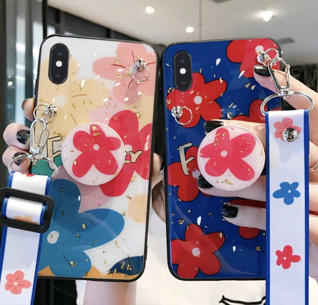Colorful Silicone Flower Phone Case with Stand for All iPhone