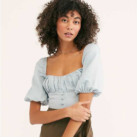 Square Collar Bubble Sleeves Cropped Shirt