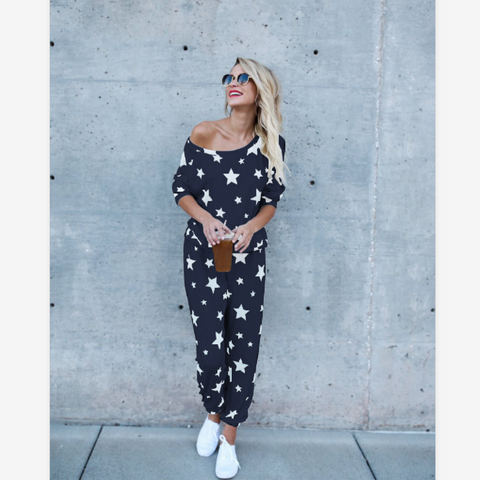 Star Print Round Neck Top & Pant Set