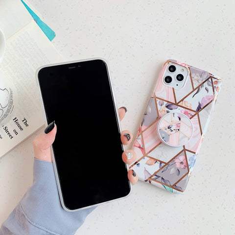 Rhombus Stitching Marble Phone Case for Samsung with Phone Holder gallery 8