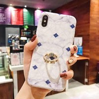 Contracted Marble Pattern Phone Case for Apple iPhone with Ring