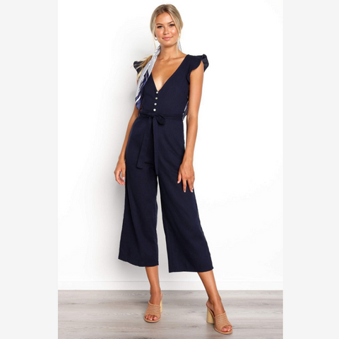 Deep V-Neck Popper Front Frill Sleeve Tied Waist Jumpsuit
