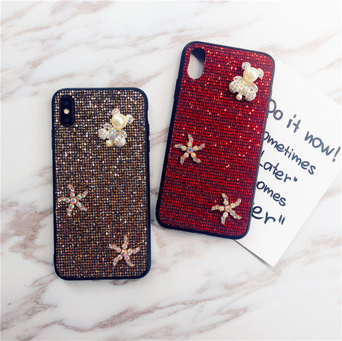 Bear & Starfish Pearl Deco Full Glittering Phone Case for Samsung gallery 10