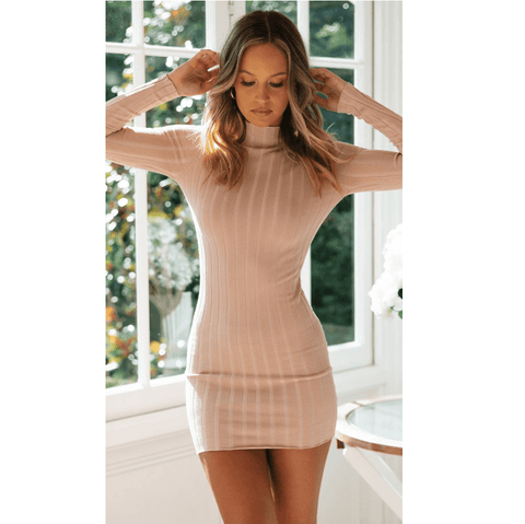 Solid Color High Neck Ribbed Bodycon Mini Dress