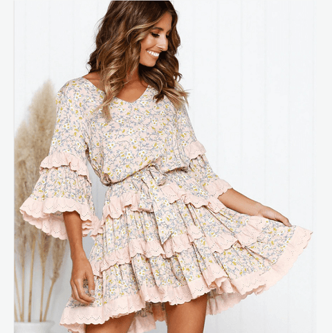 V-Neck Floral Print Ruffle Detail Tiered Dress