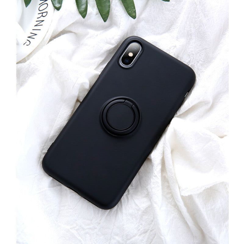 Black Soft Liquid Silicone iPhone Case with Phone Holder
