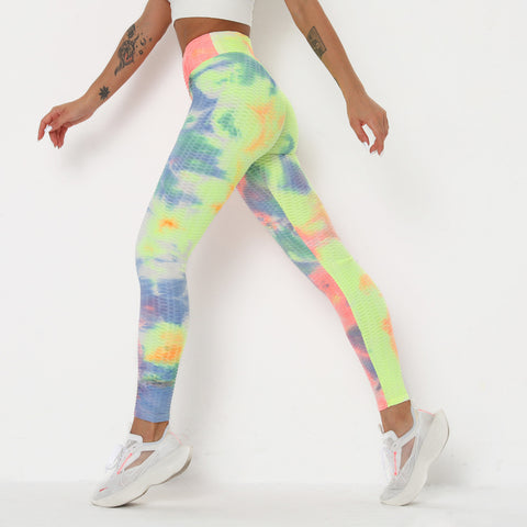 Watercolor Tie Dye Textured Butt Lifting Ruched Leggings gallery 9